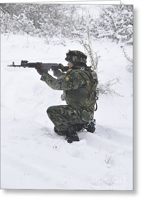 Foreign Military Greeting Cards - A Bulgarian Soldier Aims Down The Sight Greeting Card by Stocktrek Images