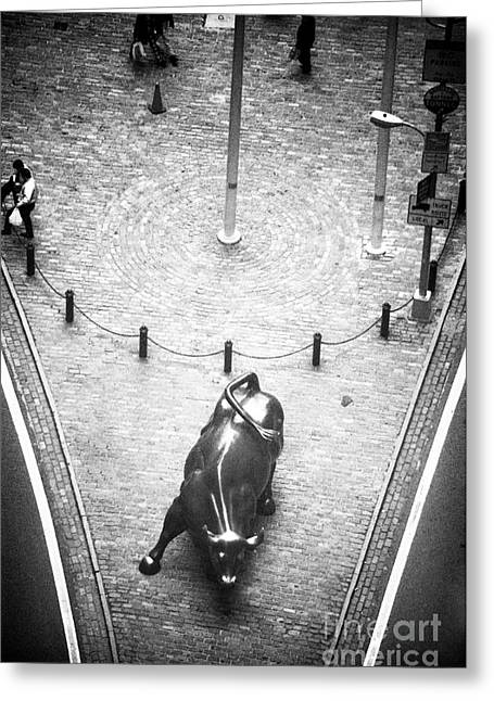 Photo Art Gallery Greeting Cards - A Bull on Wall Street 1990s Greeting Card by John Rizzuto
