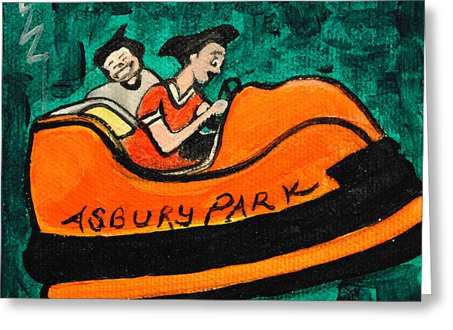 Asbury Park Paintings Greeting Cards - A Bumper Memory Greeting Card by Patricia Arroyo