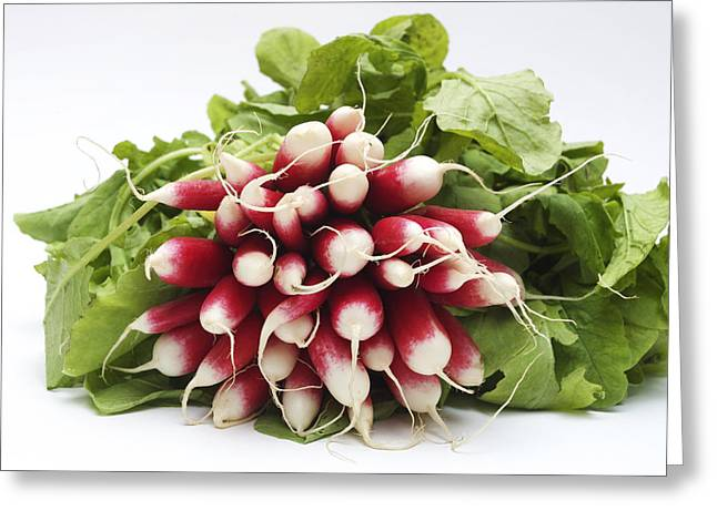 Red Radish Greeting Cards - A bunch of fresh radishes Greeting Card by Bernard Jaubert
