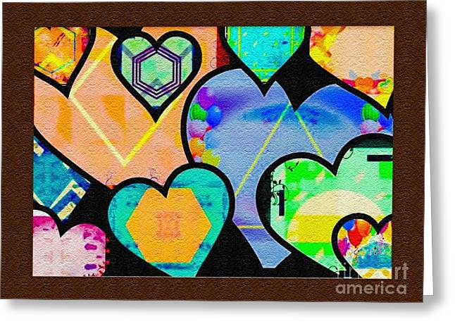 Green And Yellow Abstract Greeting Cards - A Bunch Of Hearts Greeting Card by Caroline Gilmore