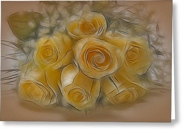 Babies Breath Greeting Cards - A Bunch Of Yellow Roses Greeting Card by Susan Candelario