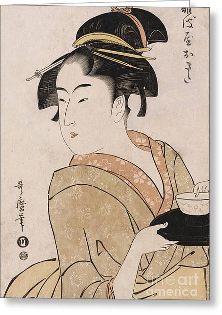 Woodcut Paintings Greeting Cards - A Bust Portrait of the Waitress Okita of the Naniwaya Teahouse Greeting Card by Kitagawa Utamaro