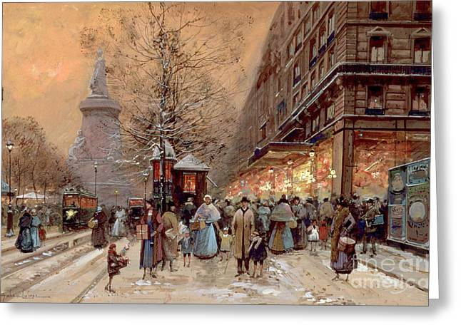 Winter Greeting Cards - A Busy Boulevard near the Place de la Republique Paris Greeting Card by Eugene Galien-Laloue