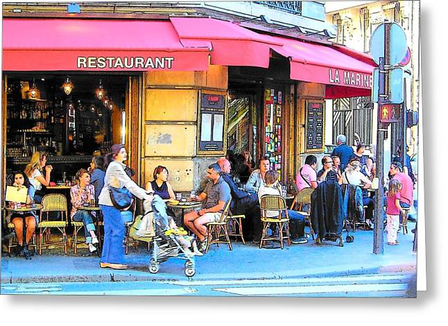 Cafe Greeting Cards - A busy corner in Paris Greeting Card by Jan Matson