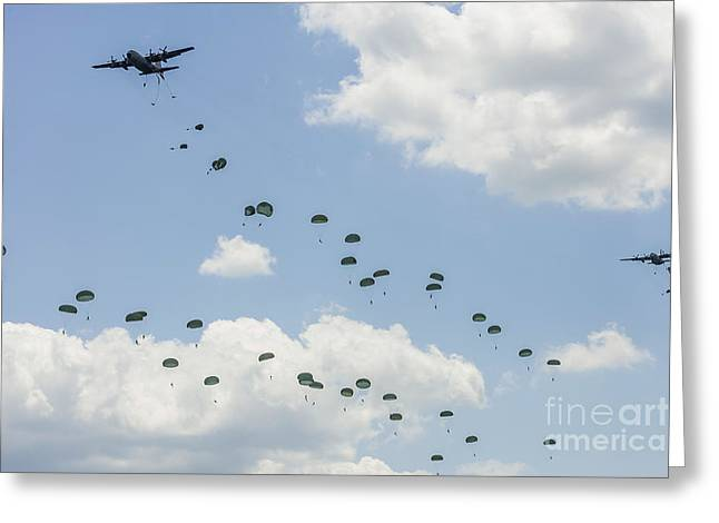 C-130 Hercules Greeting Cards - A C-130 Hercules Drop U.s. Army Greeting Card by Rob Edgcumbe