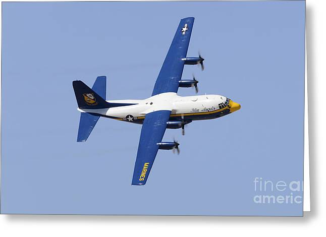 Angel Blues Greeting Cards - A C-130 Hercules Of The Blue Angels Greeting Card by Stocktrek Images