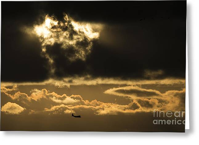 Sgt Greeting Cards - A C-130 Hercules performs aerial spraying of mosquitos Greeting Card by Celestial Images