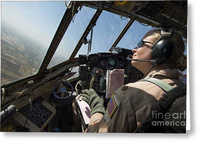 Baghdad Greeting Cards - A C-130h Hercules Pilot Looks Greeting Card by Stocktrek Images
