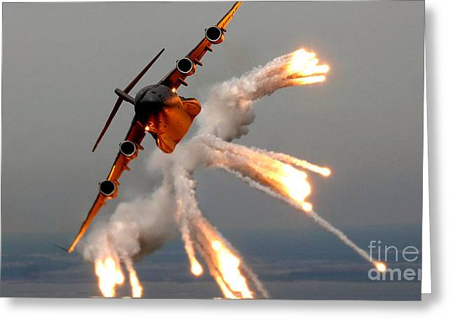 Release Greeting Cards - A C-17 Globemaster IIi Releases Flares Greeting Card by Celestial Images