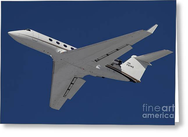 Private Jet Greeting Cards - A C-20 Gulfstream Jet In Flight Greeting Card by Timm Ziegenthaler