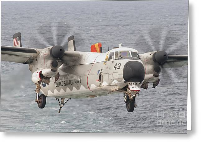 Cargo Aircraft Greeting Cards - A C-2a Greyhound Prepares For Landing Greeting Card by Giovanni Colla
