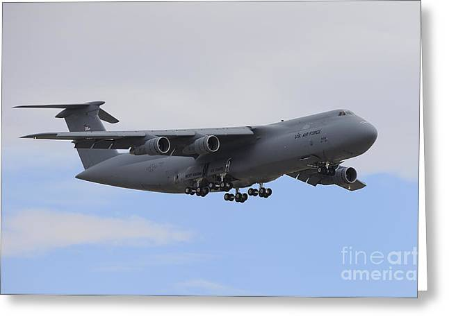 Cargo Aircraft Greeting Cards - A C-5 Galaxy In Flight Over Nevada Greeting Card by Remo Guidi