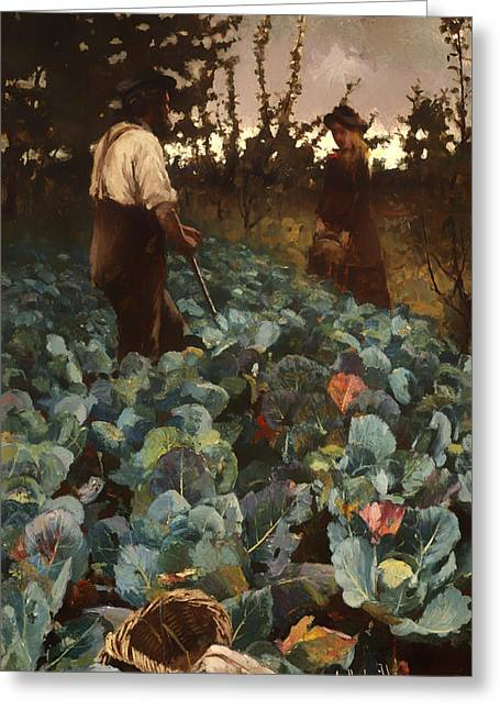Talking Greeting Cards - A Cabbage Garden Greeting Card by Arthur Melville