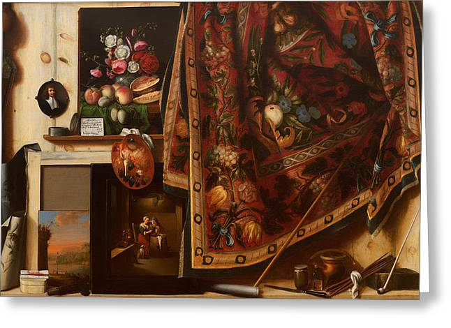 Historical Pictures Paintings Greeting Cards - A Cabinet in the Artists Studio Greeting Card by Cornelis Gysbrechts