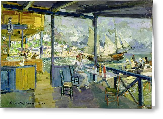 Sailing Boat Greeting Cards - A Cafe In Gursuph, 1914 Oil On Canvas Greeting Card by Konstantin Alekseevich Korovin