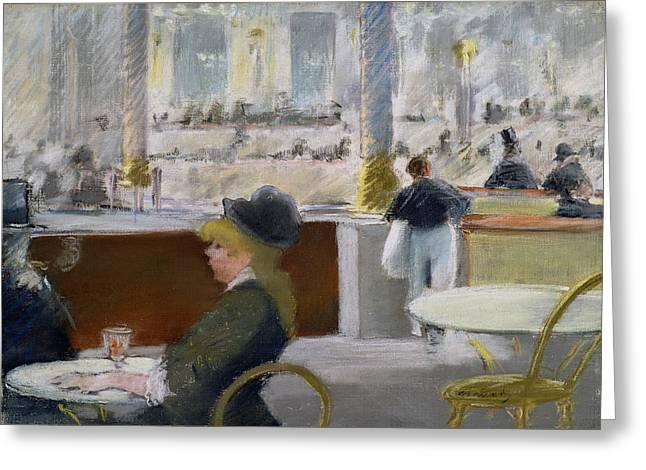 Table Greeting Cards - A Cafe, Place Du Theatre Francais Greeting Card by Edouard Manet