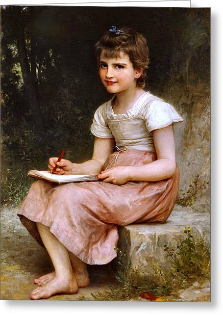 Vintage Painter Greeting Cards - A calling Greeting Card by William Adlophe Bauguereau