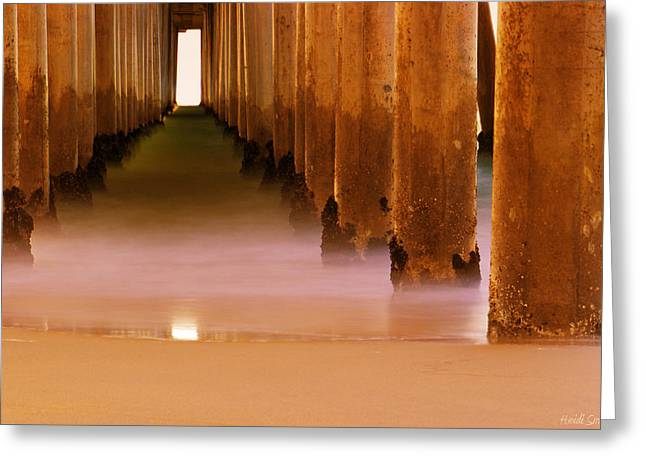 Pier Pilings Greeting Cards - A Calm Surf City Greeting Card by Heidi Smith
