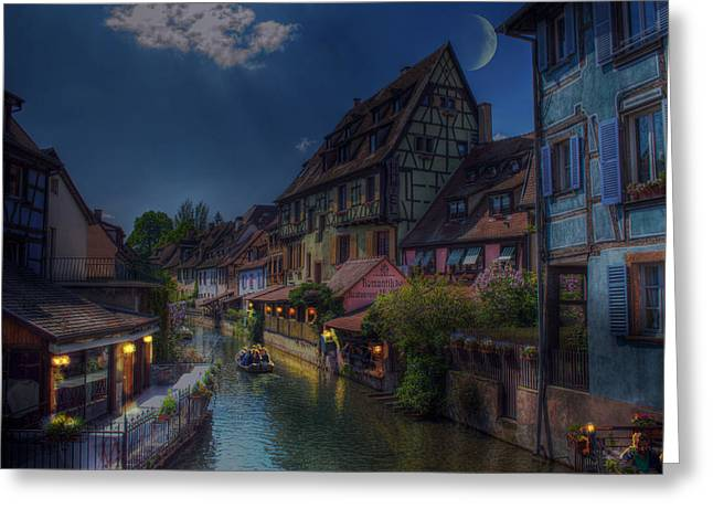 Night Cafe Greeting Cards - A Canal Ride at Sunset Greeting Card by Mountain Dreams