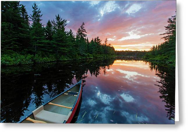 A Canoe At Sunrise On Little Berry Pond Greeting Card by Jerry and Marcy Monkman