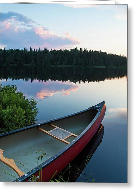 A Canoe On Little Berry Pond In Maine's Greeting Card by Jerry and Marcy Monkman