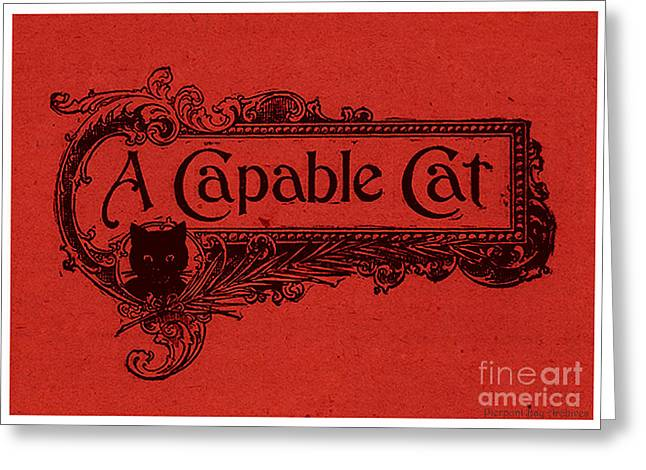 Cut-outs Drawings Greeting Cards - A Capable Cat Sign. Red Greeting Card by Pierpont Bay Archives