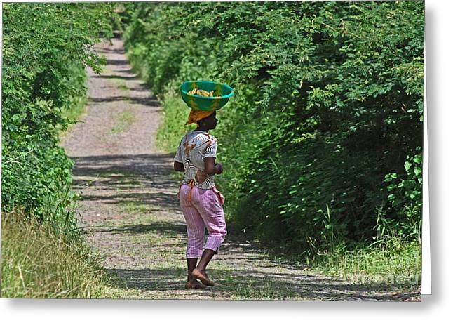 A Cape Verdean Girl Walking With A Basket On Her Head 0742 Greeting Card by Colin Munro