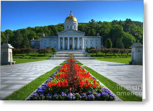 Capitol Flowers Greeting Cards - A Capitol Day Greeting Card by Mel Steinhauer