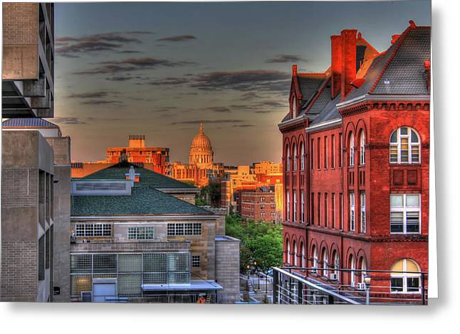 Historical Buildings Greeting Cards - A Capitol View of Madison Wisconsin Greeting Card by Mountain Dreams