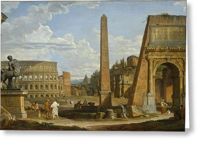 Ruins Paintings Greeting Cards - A Capriccio View Of Roman Ruins, 1737 Greeting Card by Giovanni Paolo Pannini or Panini