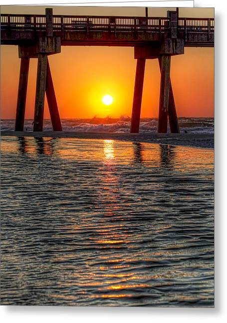 Pensacola Fishing Pier Greeting Cards - A Captive Sunrise Greeting Card by Tim Stanley