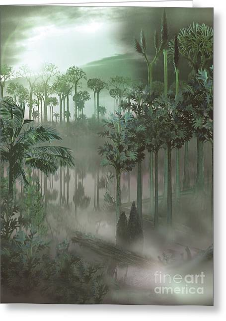 Lush Mixed Media Greeting Cards - A Carboniferous Forest With Mist Rising Greeting Card by Jan Sovak
