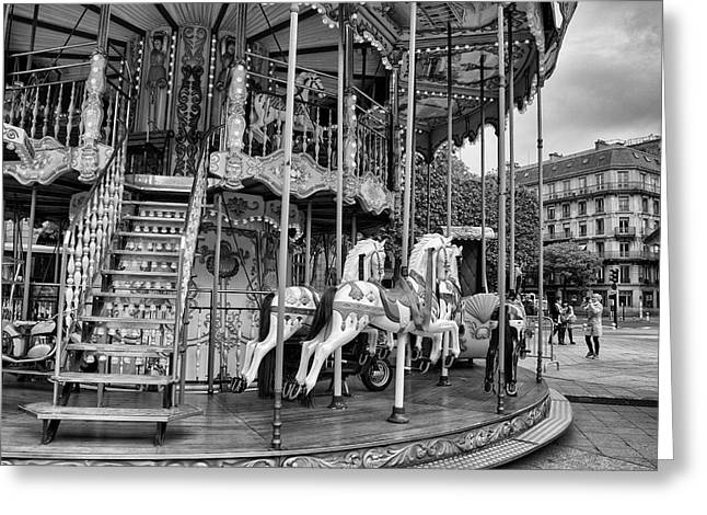 Whirligig Greeting Cards - A Carousel Scene in Paris Greeting Card by Nomad Art And  Design