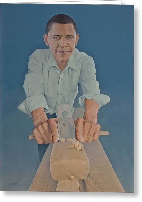 Recently Sold -  - Barack Greeting Cards - A Carpenter Chinese Citizen Barack Obama  Greeting Card by Tu Guohong