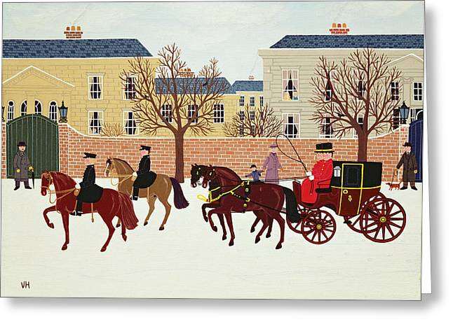 Police Christmas Card Greeting Cards - A Carriage Escorted by Police Greeting Card by Vincent Haddelsey