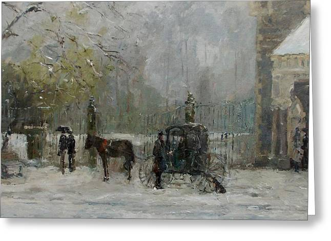 Dog In The Snow Greeting Cards - A Carriage in the Snow Greeting Card by Malcolm Mason