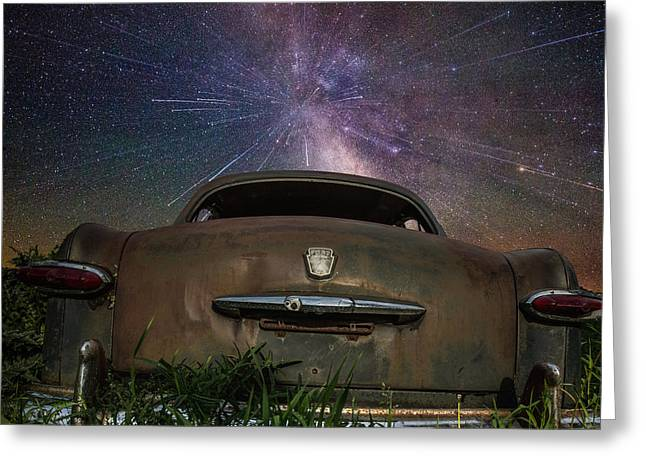 Stars Trail Greeting Cards - A cars dream... Greeting Card by Aaron J Groen