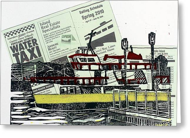 Linoleum Block Print Mixed Media Greeting Cards - A Casco Bay Ferry Greeting Card by Wilson Stewart