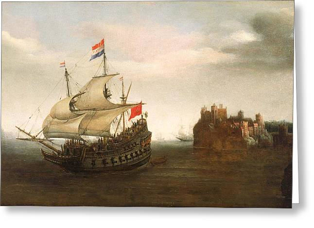 Vroom Greeting Cards - A Castle With A Dutch Ship Sailing Nearby Greeting Card by Hendrick Cornelisz Vroom
