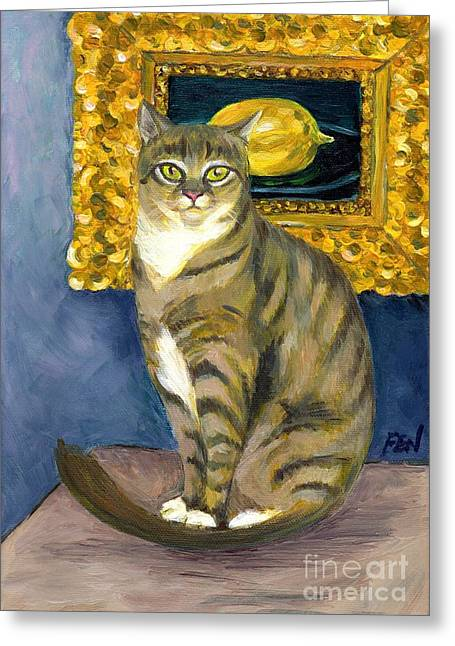 Cat Art Greeting Cards - A Cat And Eduard Manets The Lemon Greeting Card by Jingfen Hwu