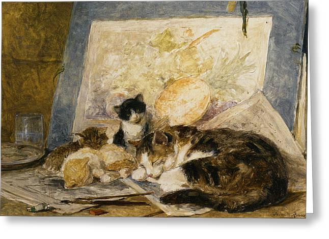 Henriette Greeting Cards - A Cat And Her Kittens Greeting Card by Henriette Ronner Knip