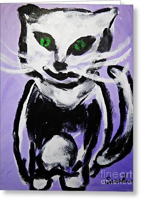 Sarah Loft Paintings Greeting Cards - A Cat for Julia Greeting Card by Sarah Loft