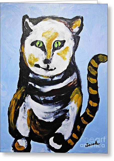 Fanciful Paintings Greeting Cards - A Cat for Lynne Greeting Card by Sarah Loft