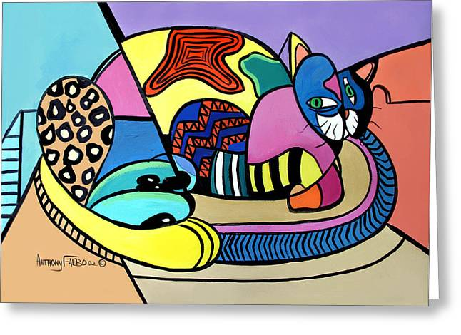 Cubist Greeting Cards - A Cat Named Picasso Greeting Card by Anthony Falbo