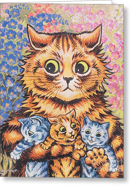 Blue Flowers Greeting Cards - A Cat with her Kittens Greeting Card by Louis Wain