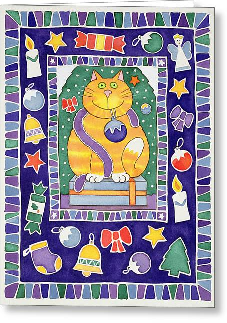 Baubles Greeting Cards - A Cats Christmas, 1995 Wc Greeting Card by Cathy Baxter
