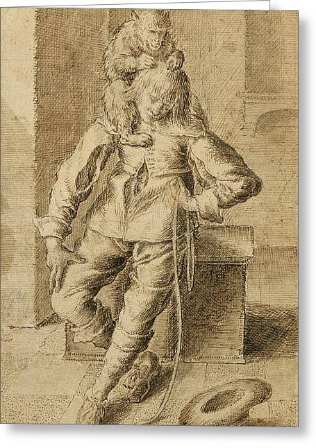 Cavalier Greeting Cards - A Cavalier With A Monkey Greeting Card by Gottfried Libalt