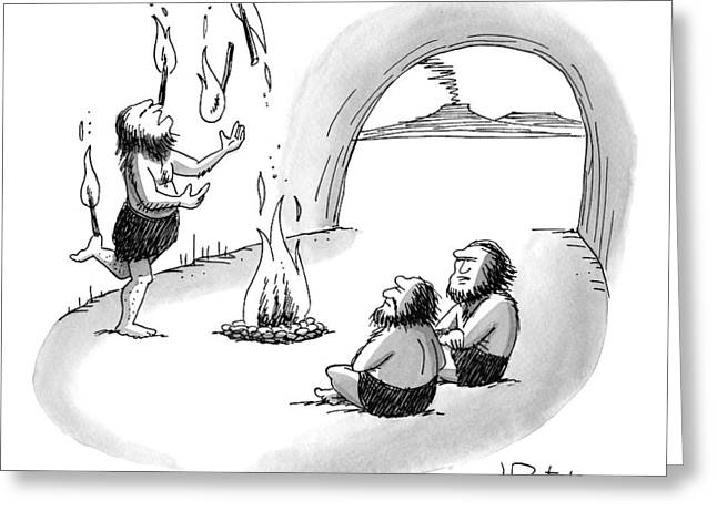 A Cave Person Is Juggling Sticks Of Fire Greeting Card by Joe Dator
