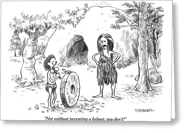 A Cave Woman Addresses Her Son Greeting Card by Pat Byrnes